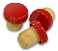 Plastic Top Flanged Wine Corks Red (100s)